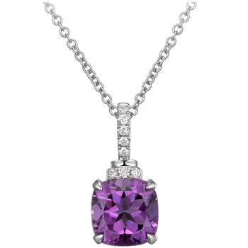 18KT White Gold Amethyst and Diamond Pendant