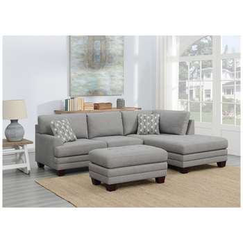 True Innovations Fabric Sectional with Ottoman 3pc