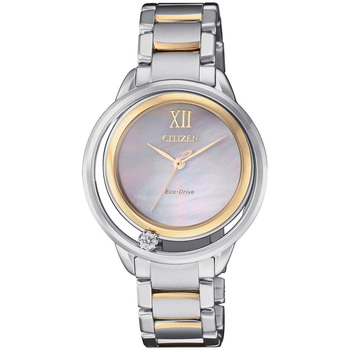Citizen Women's Eco-Drive Mother of Pearl Dial with Diamond Two Tone Watch