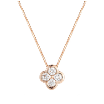 18KT Rose Gold Round Brilliant Cut 0.18CTW Diamond Pendant