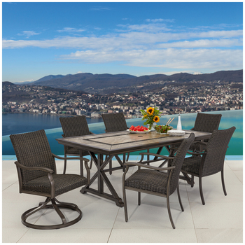 Agio El Dorado Woven Dining Set 7pc