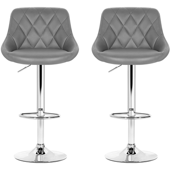 Artiss Grey Gaslift Swivel Barstool 2pk