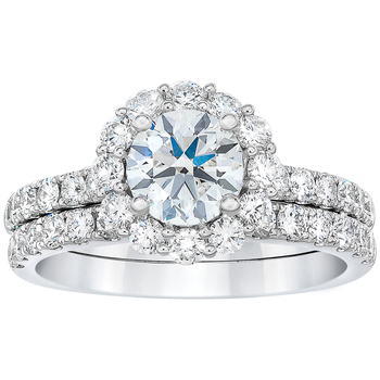 Platinum 2.10ctw Round Brilliant Diamond Bridal Ring Set