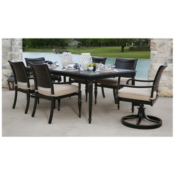 America's Backyard Plantation Outdoor Dining Set 7pc Beige