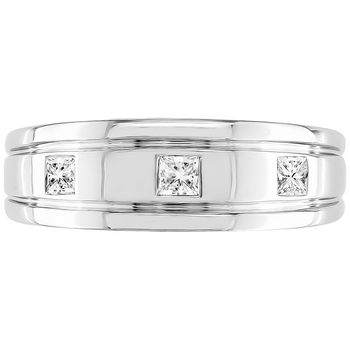18KT White Gold 0.33ctw Princess Cut Diamond Mens Ring