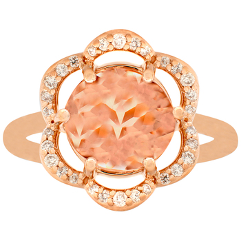 14KT Rose Gold Morganite and Diamond Flower Ring