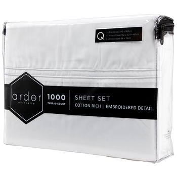 Ardor 1000 TC Hotel Embroidered Queen Sheet Set