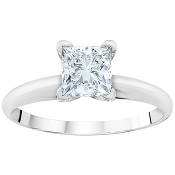 Princess Cut 0.50ctw 18KT White Gold Solitaire Ring