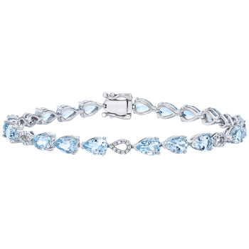18KT White Gold Aquamarine and Diamond Bracelet