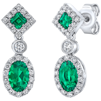 18KT White Gold Lab Created Emerald and Diamond Earrings