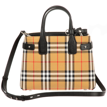 Burberry Baby Belted Check Satchel Bag Black