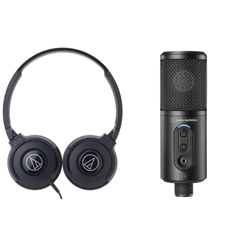 Audio-technica Headphone + USB Microphone Bundle ATR2500X/ATH-S100IS