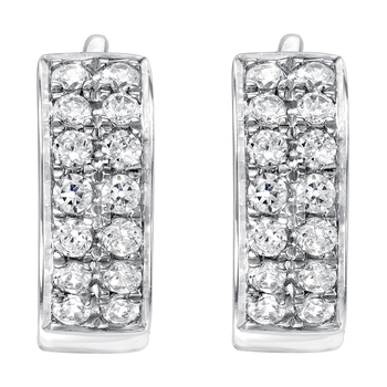 Round Brilliant Cut 0.24ctw 18KT White Gold Diamond Earrings