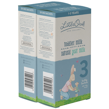 LittleOak Natural Goat Milk Toddler Sachets 5x30g 2 Pack Stage 3 (1-3 Years)