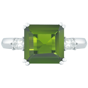 18KT White Gold Tourmaline and Diamond Ring