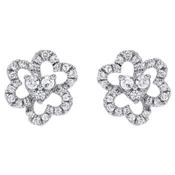 Round Brilliant Cut 0.33ctw 18KT White Gold Diamond Earrings