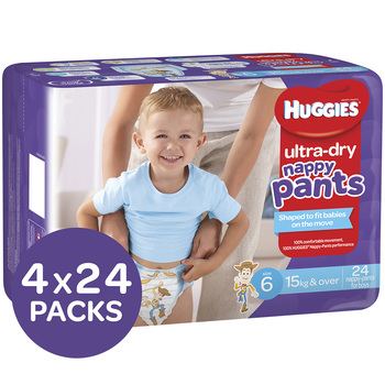 Huggies Ultra Dry Nappy Pants Size 6 15+kg Boys 4x24 Pack