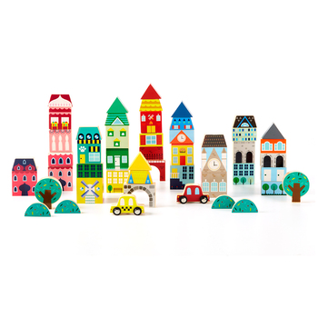 FAO Schwarz 50pc International City Wooden Block Set