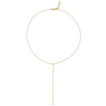 14KT Yellow Gold Y Bar Necklace