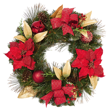 61cm Decorated Christmas Wreath