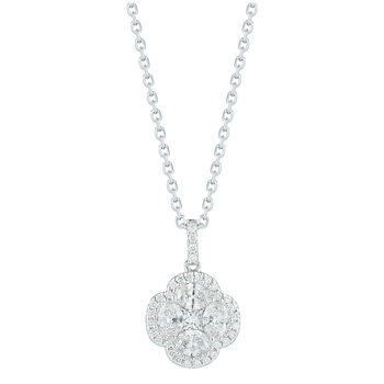 Round Brilliant, Oval and Princess Cut 1.04ctw 18KT White Gold Diamond Pendant