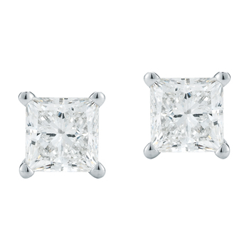 Princess 0.50ctw 18KT White Gold Diamond Solitaire Studs