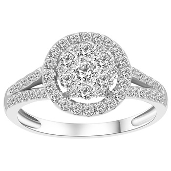 Round Brilliant Cut 0.81ctw 18KT White Gold Ring