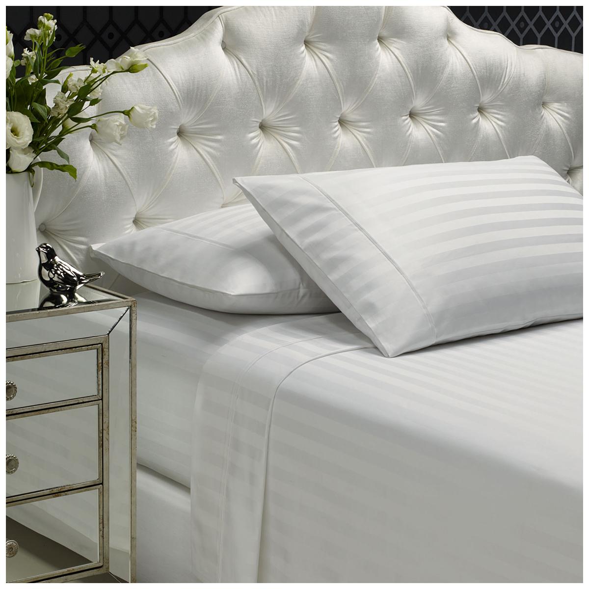 Royal Comfort 1200 Thread Count Damask Stripe Sheet Set Queen White Costco Australia