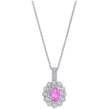 18KT White Gold Pink Sapphire and Diamond Pendant