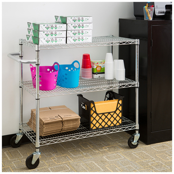 TRINITY 3 Tier Storage Cart Silver