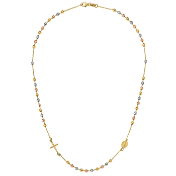 14KT Three Tone Gold Rosary Necklace