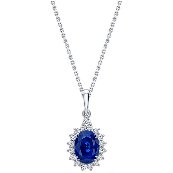 Sapphire and Diamond 18KT White Gold Pendant
