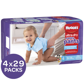 Huggies Ultra Dry Nappy Pants Size 4 9-14kg Boys 4x29 Pack