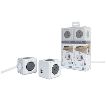 Allocacoc PowerCube 1.5m with 4 Power Outlets & 2 USB ports twin pack