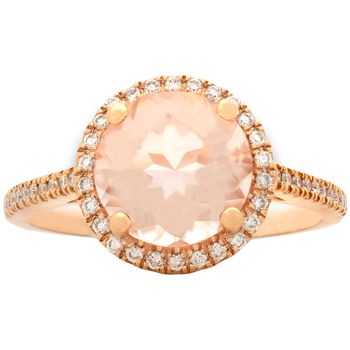 Round 14KT Rose Gold Morganite and Diamond Ring
