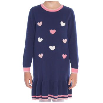 Pekkle Girls' Sweater Dress Cherries, Flowers and Hearts