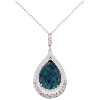 14KT White Gold London Blue Topaz and Diamond Pendant