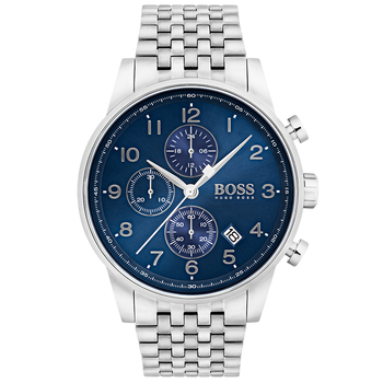 Hugo Boss Navigator Men's Silver Stainless Steel Bracelet Band Watch 1513498