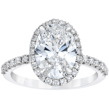 Platinum Oval and Round Brilliant Cut 3.40ctw Diamond Ring