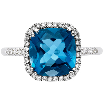0.20ctw 14KT White Gold London Blue Topaz and Diamond Ring