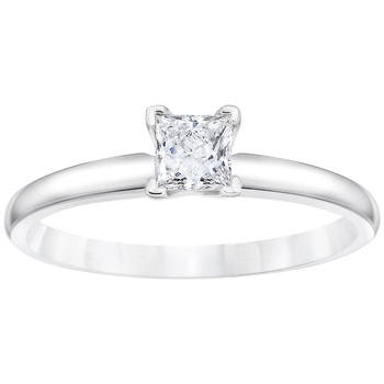 18KT White Gold 0.30ctw Princess Cut Diamond Solitaire Ring