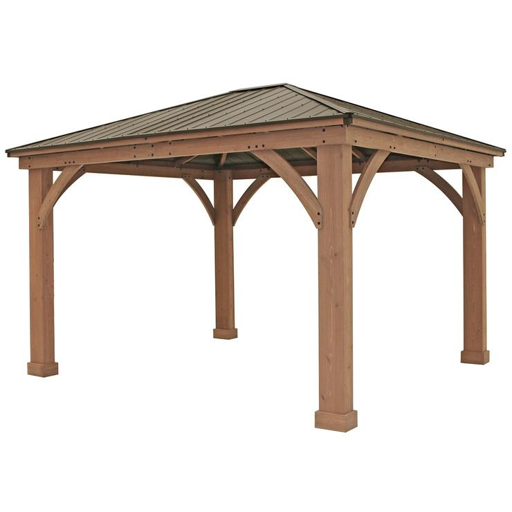 Yardistry 4 3 X 3 7m Wood Gazebo With Aluminium Roof Costco Australia