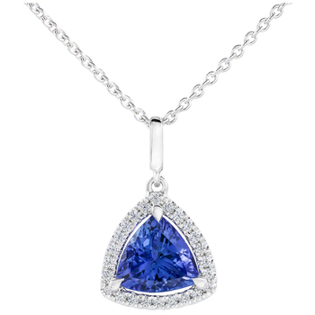 18KT White Gold Tanzanite and Diamond Pendant