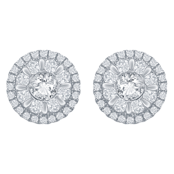 18KT White Gold 1.43ctw Round Brilliant Diamond Earrings