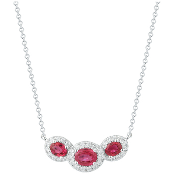 18KT White Gold Ruby and Diamond Necklace