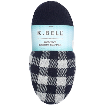 K. BELL Ladies Sherpa Slipper 2-Pair Pack