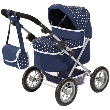 Bayer Trendy Doll Pram Dark Blue & White Heart Print