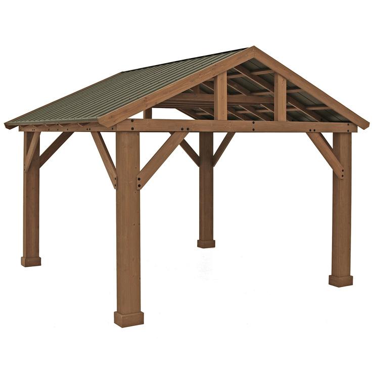 Yardistry 4.3 x 3.7 m Pavilion with Aluminium Roof ... on Yardistry Backyard Pavilion id=30536
