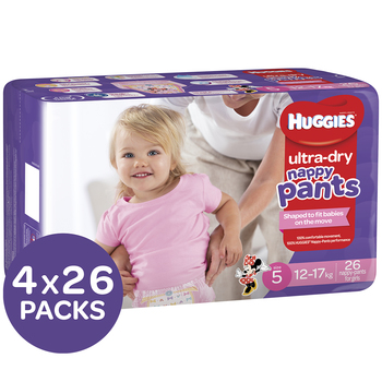Huggies Girls Ultra Dry Nappy Pants Size 5 Walker (12�17kg) 4 x 26pk