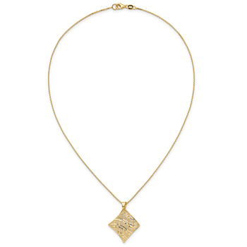 14KT Yellow Gold Fancy Square Pendant